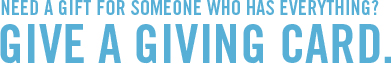 Need a gift for someone who has everything Give a giving card